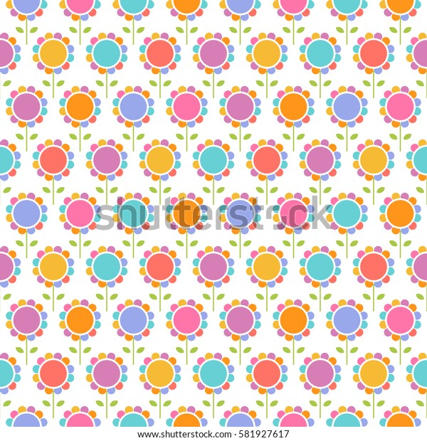Vector seamless pattern with flowers. Floral cute background. Ornamental decorative illustration for print, web