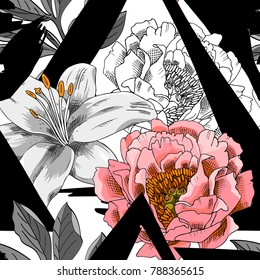 Vector seamless pattern with flowers and geometric figures. Lily and peony.