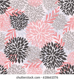 Vector seamless pattern with flowers and leaves in light pink colors. Vector background with chrysanyhemum fireworks flowers for textile, print, clothing, wallpaper, and other design.
