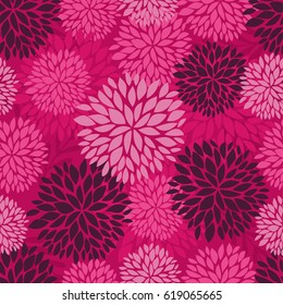 Vector seamless pattern with flowers and leaves in pink colors. Vector background with chrysanyhemum fireworks flowers for textile, print, clothing, wallpaper, and other design.