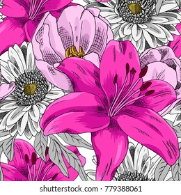 Vector seamless pattern with flowers. Lily, gerbera and tulip