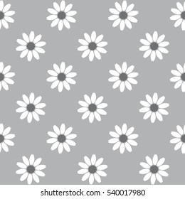 Vector seamless pattern with flowers. Modern stylish texture. Repeating geometric tiles with monochrome daisies. Stylized floral background.