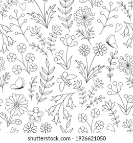 Vector seamless pattern with flowers on a white background. A sketch for coloring. Coloring antistress.
