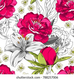 Vector seamless pattern with flowers. Red and white peonies and white lilies.