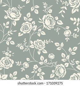 Vector seamless pattern with flowers. Vintage background with blooming roses. Floral wallpaper. White rose silhouette on blue background