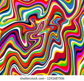 Vector seamless pattern of fluid psychedelic stripes and lines in the style of the 60s and 70s wallpaper design.