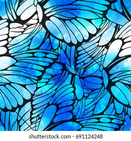 Vector seamless pattern of flying butterflies with vector watercolor texture. Abstract background with watercolour drops and strokes and butterfly wings