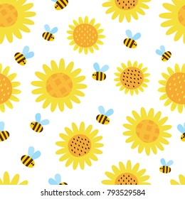 Vector seamless pattern with flying cartoon bees and flowers isolated on white background. Illustration for children used for magazine, book, poster, card, web pages.