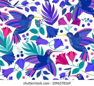 Vector seamless pattern with flying colibri or hummingbird and colorful flowers on white. Summer blossom flowers. Birds pattern. Summer exotic flowers with colibri. Pattern for kids, fabric, wallpaper