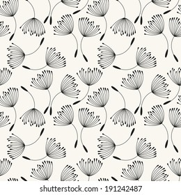 Vector seamless pattern. Flying of dandelion seeds. Stylish repeating texture