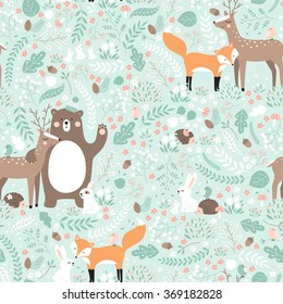 Vector seamless pattern, forest animals illustration, bear, deer, fox, rabbit, bird, hedgehog.