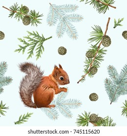 Vector seamless pattern with forest branches, squirrel on white. Highly detailed winter background design for Christmas, new year, festive products. Best for wrapping paper, fabric, wall paper