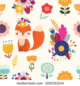 Vector seamless pattern with fox