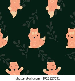 Vector seamless pattern with foxes, leaves and green background for fabric, scrapbooking, wrapping paper