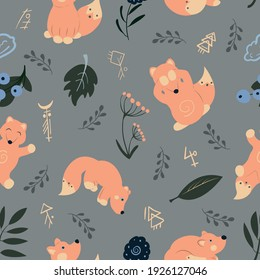 Vector seamless pattern with foxes, symbols, flowers, leaves and grey-blue background for fabric, scrapbooking, wrapping paper