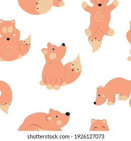 Vector seamless pattern with foxes and white background for fabric, scrapbooking, wrapping paper