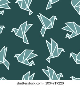 Vector seamless pattern with freehand drawn cartoon paper origami contrasty birds made in kid childish style on dark green background