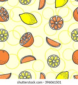 Vector seamless pattern with freehand drawn cartoon oranges and lemons on yellow background with yellow circles