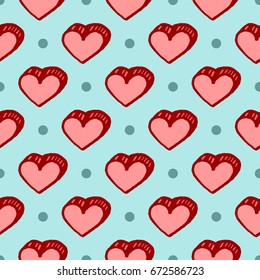 Vector seamless pattern with freehand drawn cartoon hearts on blue background with polka dots