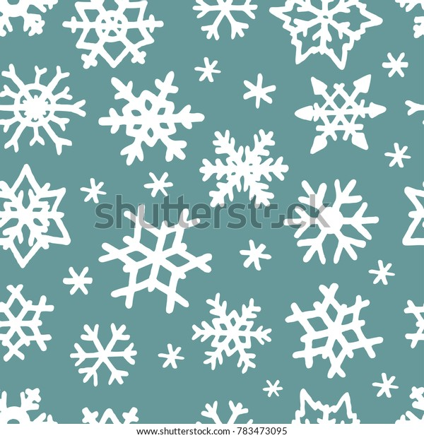 Vector seamless pattern with freehand drawn cartoon winter snowflakes snow made in kid childish style on cyan background