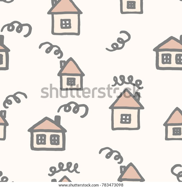 Vector seamless pattern with freehand drawn cartoon houses with windows chimney smoke made in kid childish style on beige background