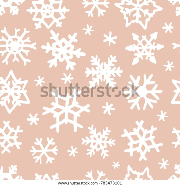 Vector seamless pattern with freehand drawn cartoon winter snowflakes snow made in kid childish style on beige background