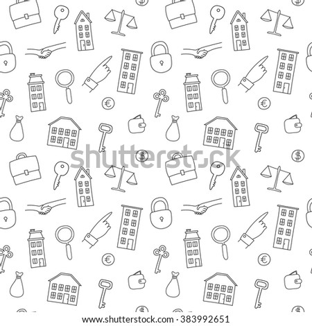 vector seamless pattern freehand real estate stock vector royalty Fashion Resume for Beginners vector seamless pattern of freehand real estate icons multi story building cottage