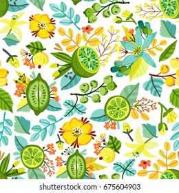Vector seamless pattern of fresh green leaves and fruits. Bright organic ornament.