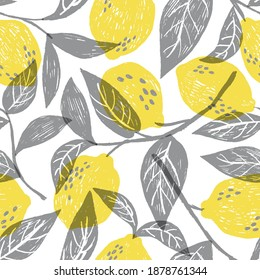 Vector seamless pattern with fresh juicy lemons in trendy colors. Good for textile.