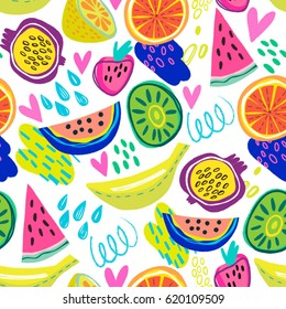 Vector seamless pattern of fruits in cool graphic style.