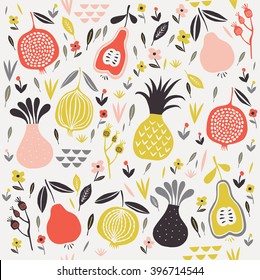 Vector seamless pattern with fruits, flowers and leaves