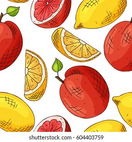 Vector seamless pattern with fruits. Orange and lemon background. Hand drawn elements.