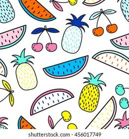 Vector seamless pattern of Fruits. Summer mood