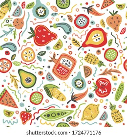 Vector seamless pattern with fruits and vegatables. Healthy food background. Farm market, fresh, natural, local, organic, fresh products. colorful and positive hand drawn concept.