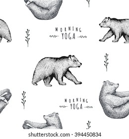 Vector seamless pattern of fun a bear isolated on white background. Print posture of morning practice pranayama asana pose yoga Eps 10. spirit graphic character. Half-boat pose