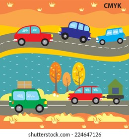 Vector seamless pattern funny autumn cars