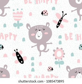 vector seamless pattern with funny bear, butterflies and flowers