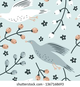 vector  seamless pattern with funny birds and berries