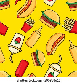 vector seamless pattern of funny cartoonish fast food dishes on yellow background