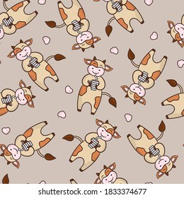 Vector seamless pattern with a funny cow drinking coffee or tea from a mug, on a background color of coffee with milk