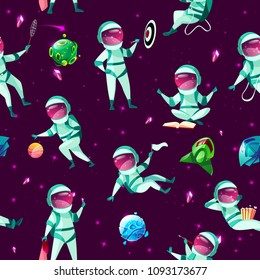 Vector seamless pattern with funny cute spacemen playing darts, basketball, badminton meditating, eating popcorn in outer space in spacesuit within cosmic objects