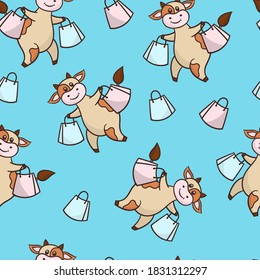 Vector seamless pattern with a funny cute cartoon cow on a shopping trip with purchases, on a blue background