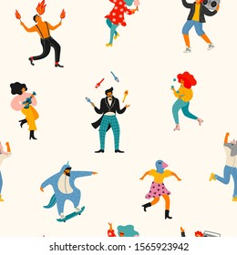 Vector seamless pattern with funny dancing men and women in bright modern costumes. Design element for carnival concept and other use.