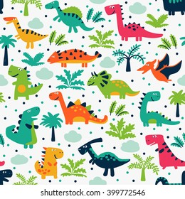 Vector seamless pattern with funny dinosaurs, clouds and trees. Ideal for cards, invitations, wallpaper, web page backgrounds, textile industry, kindergarten, preschool and children room decoration