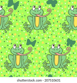 Vector seamless pattern with funny frogs and butterflies. Bright texture with hand drawing cartoon characters.