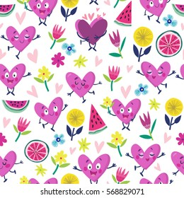 Vector seamless pattern of funny hearts