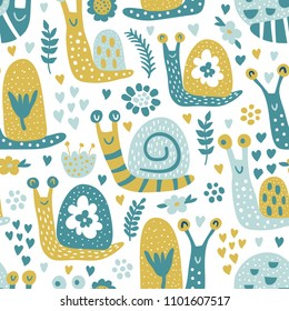 vector seamless pattern, funny snails in cute childish style