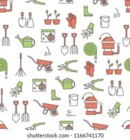 Vector seamless pattern with garden tools, equipment and clothing. Thin line art flat style design gardening background, wallpaper.