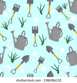 vector seamless pattern with garden tools