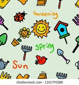 Vector seamless pattern of gardening theme